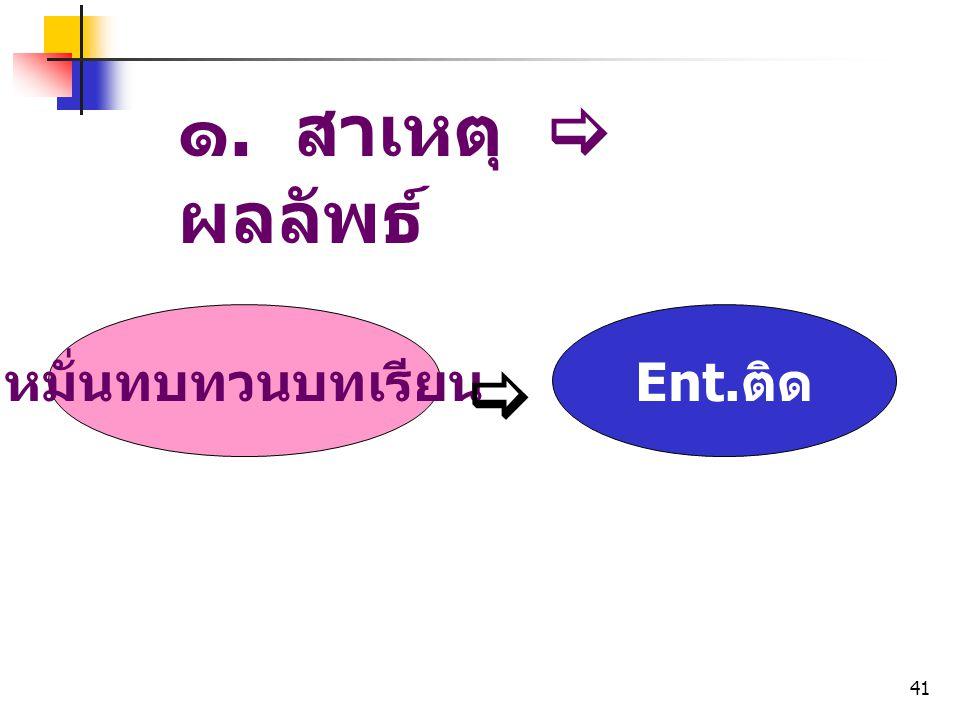 ๑. สาเหตุ  ผลลัพธ์ หมั่นทบทวนบทเรียน Ent.ติด 