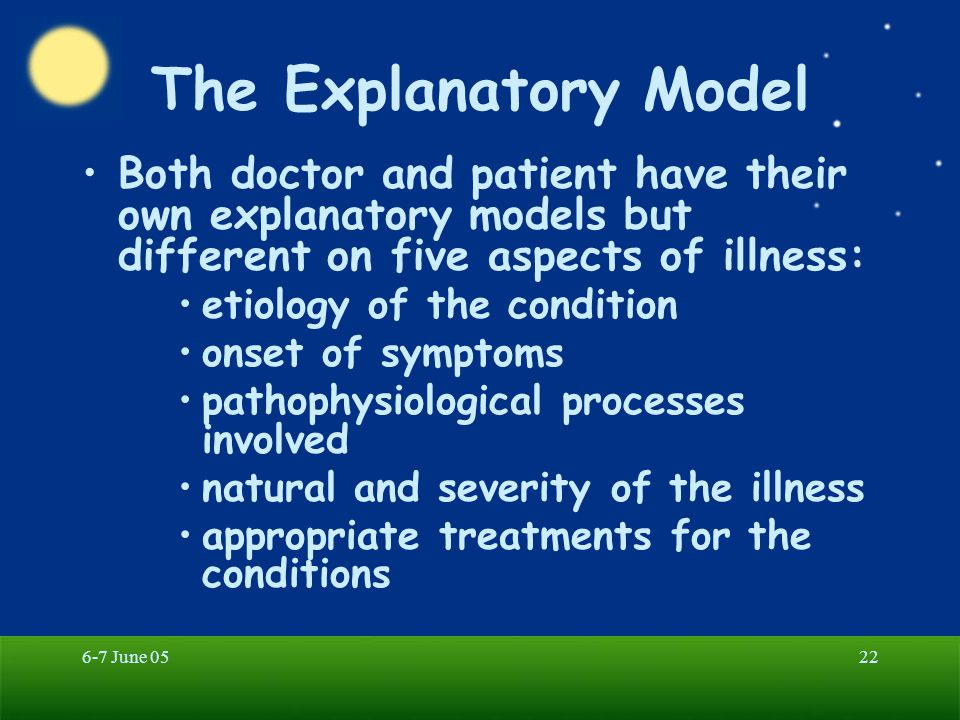 The Explanatory Model Both doctor and patient have their own explanatory models but different on five aspects of illness: