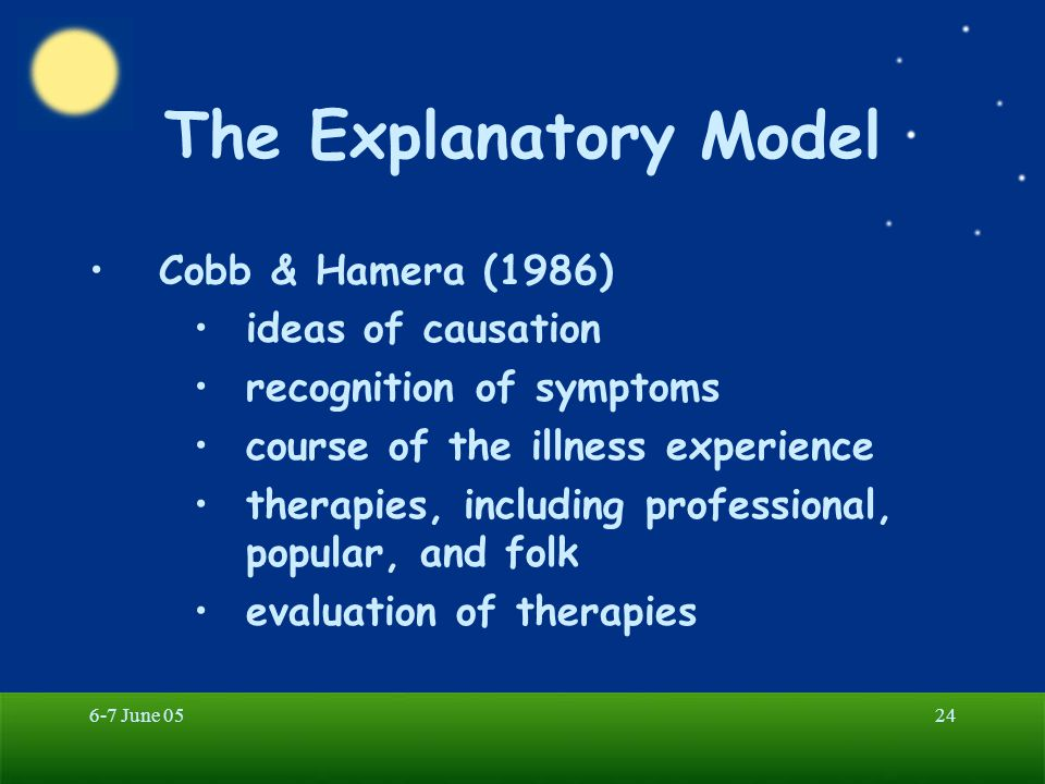 The Explanatory Model Cobb & Hamera (1986) ideas of causation