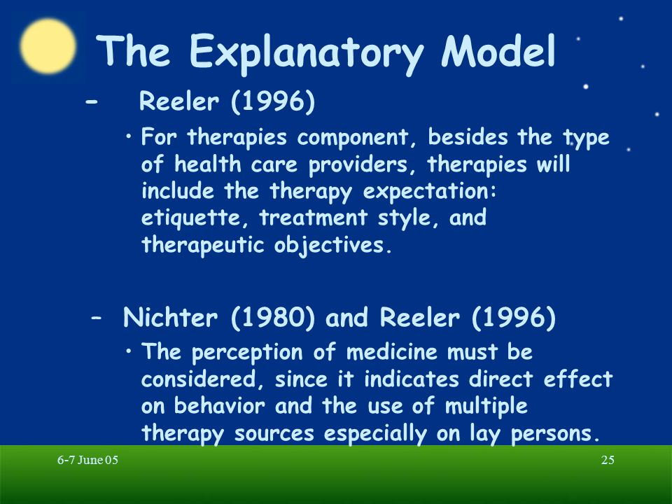 The Explanatory Model - Reeler (1996) Nichter (1980) and Reeler (1996)