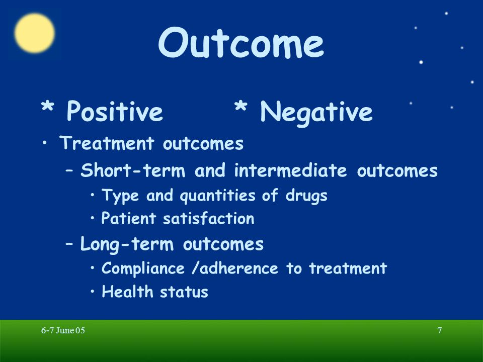 Outcome * Positive * Negative Treatment outcomes