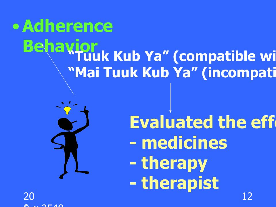 Evaluated the effective of - medicines - therapy - therapist