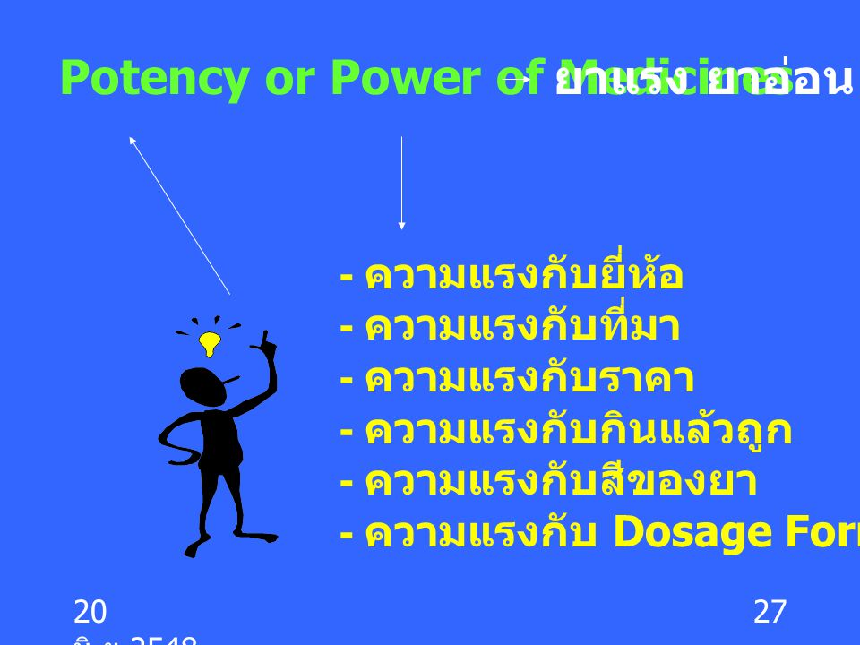 Potency or Power of Medicines ยาแรง ยาอ่อน ยาดี