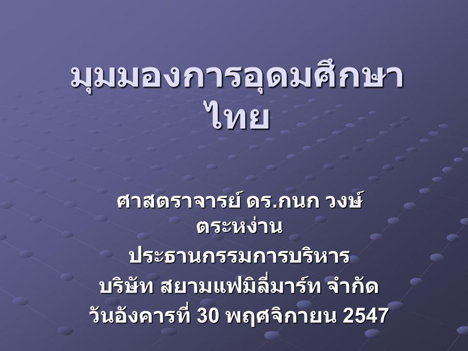 มุมมองการอุดมศึกษาไทย