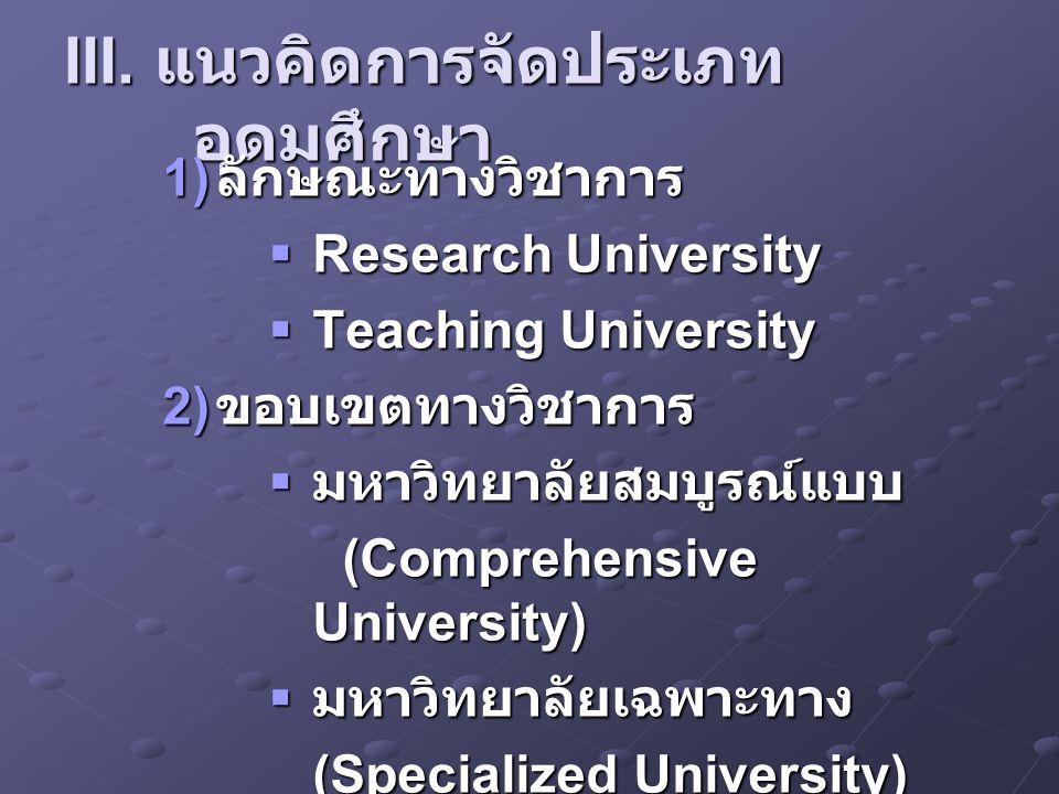 III. แนวคิดการจัดประเภทอุดมศึกษา