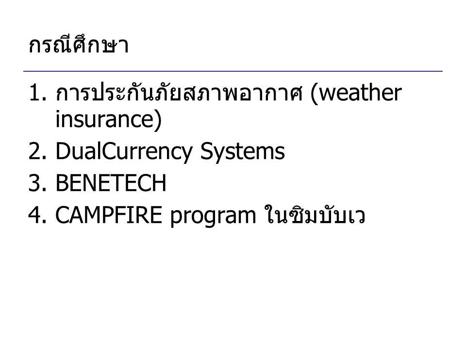 กรณีศึกษา การประกันภัยสภาพอากาศ (weather insurance) DualCurrency Systems.