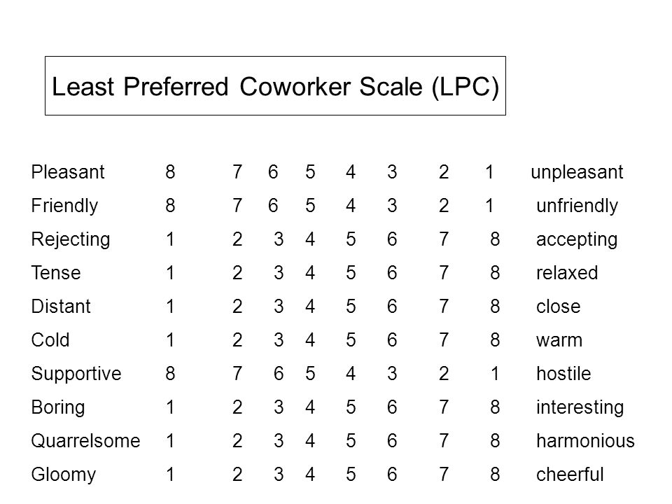 Least Preferred Coworker Scale (LPC)