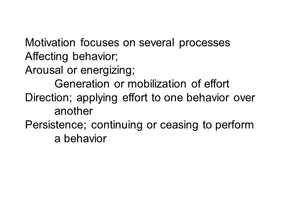 Motivation focuses on several processes