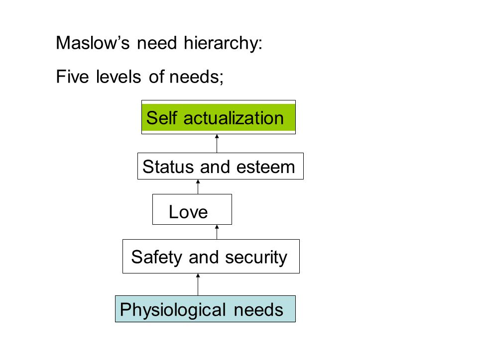 Maslow's need hierarchy: