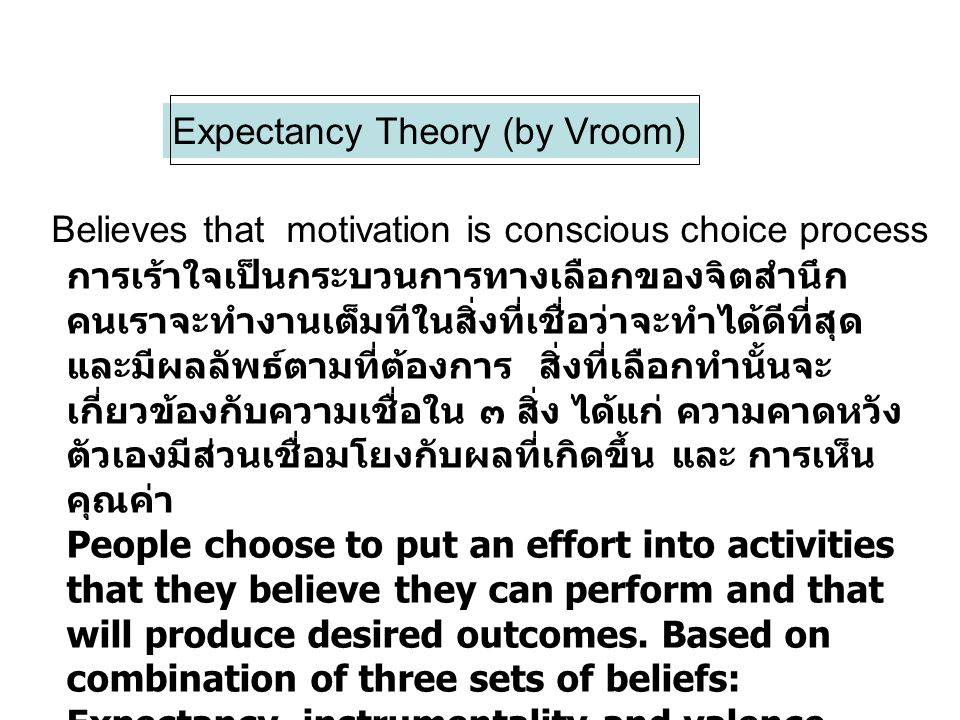 Expectancy Theory (by Vroom)