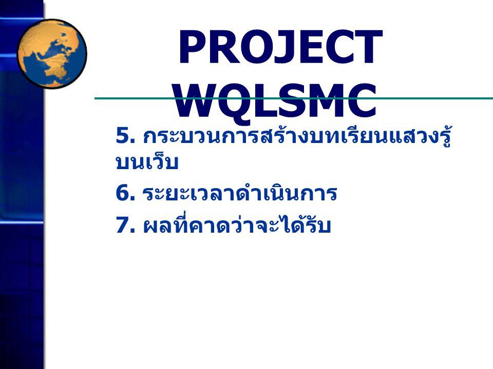 PROJECT WQLSMC 5. กระบวนการสร้างบทเรียนแสวงรู้บนเว็บ