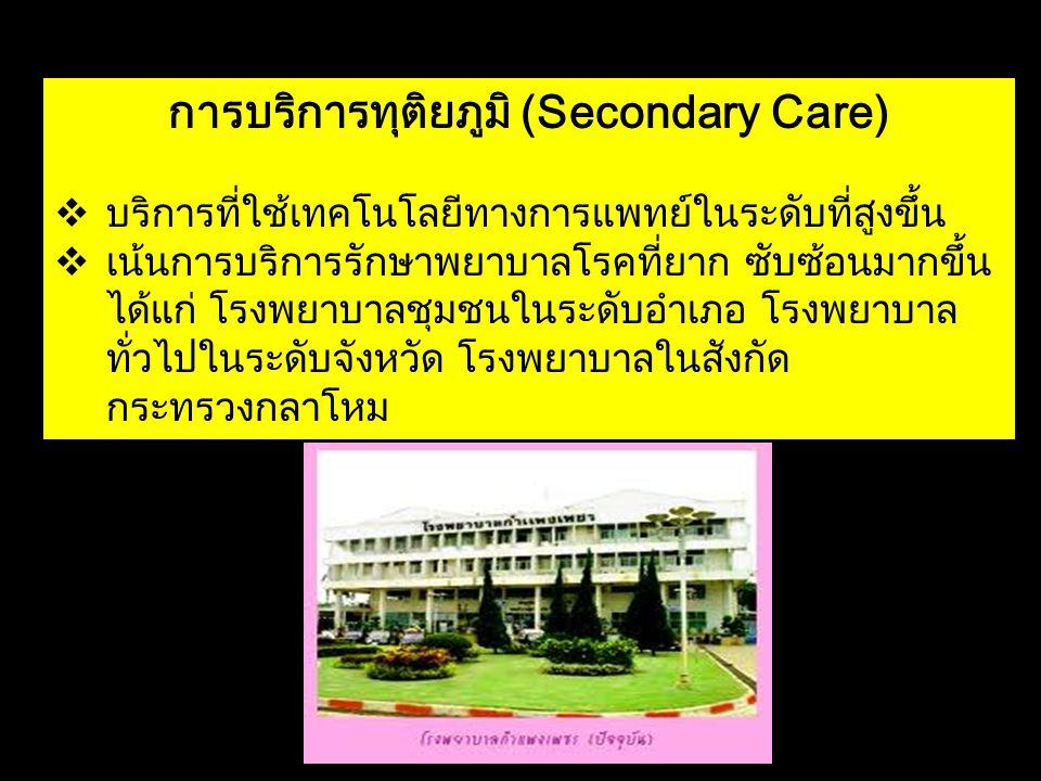การบริการทุติยภูมิ (Secondary Care)