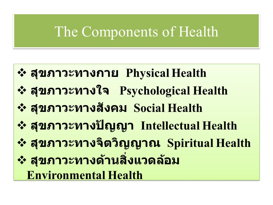 The Components of Health