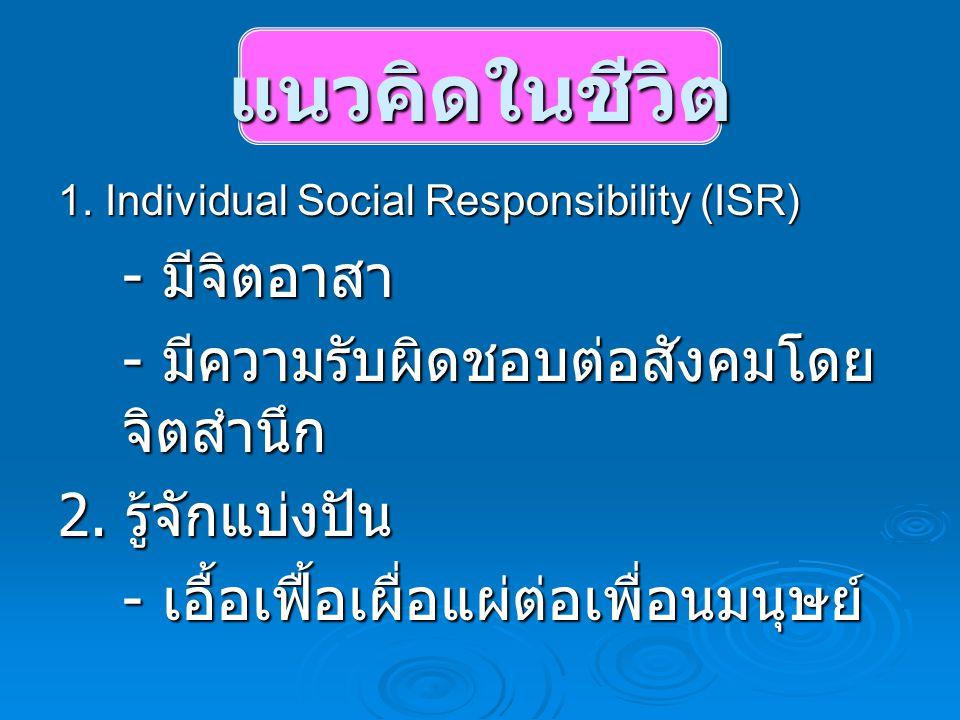 แนวคิดในชีวิต - มีจิตอาสา - มีความรับผิดชอบต่อสังคมโดยจิตสำนึก