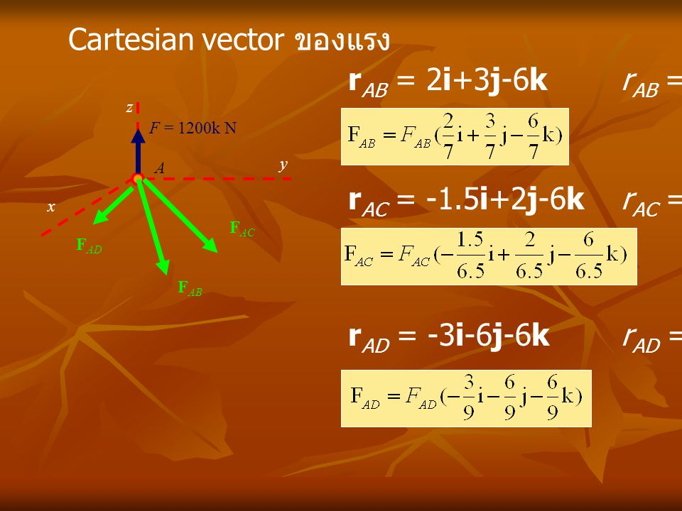 Cartesian vector ของแรง rAB = 2i+3j-6k rAB = 7.0 m