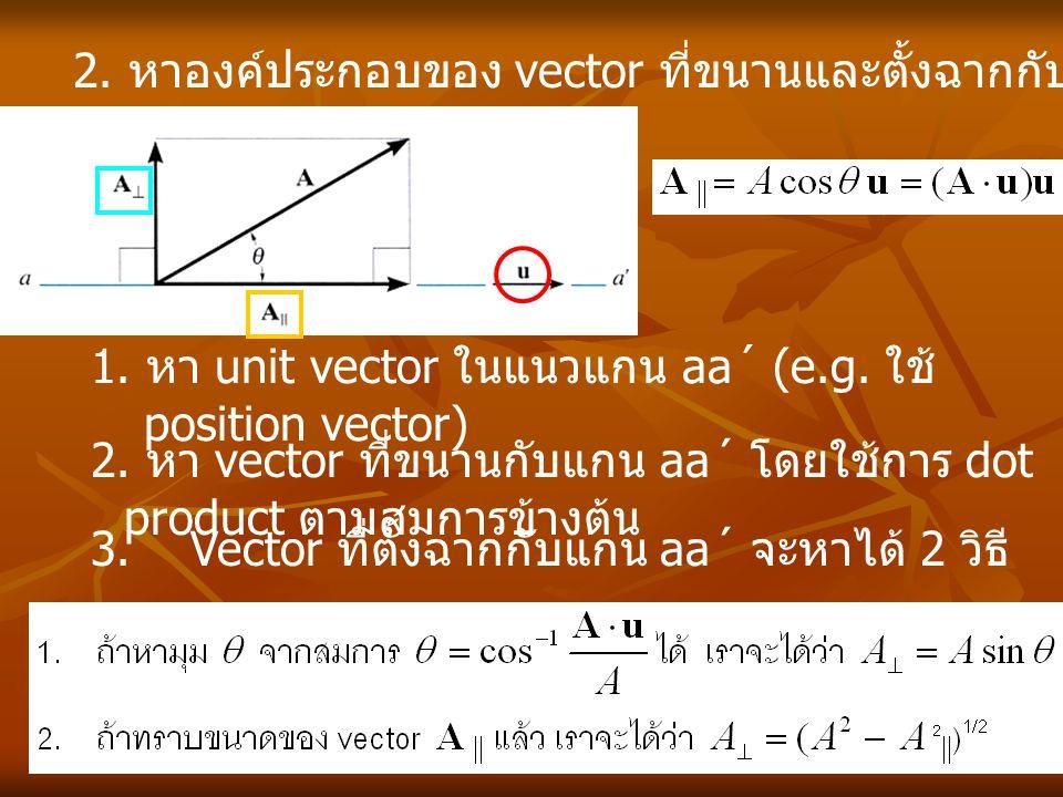 2. หาองค์ประกอบของ vector ที่ขนานและตั้งฉากกับเส้นตรงเส้นหนึ่ง