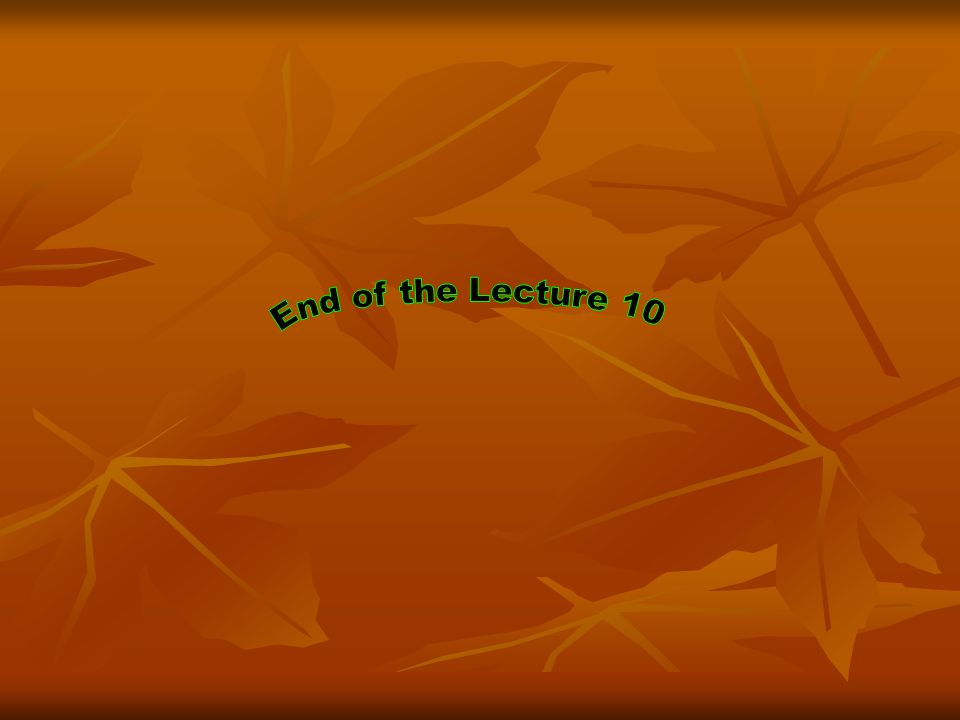End of the Lecture 10