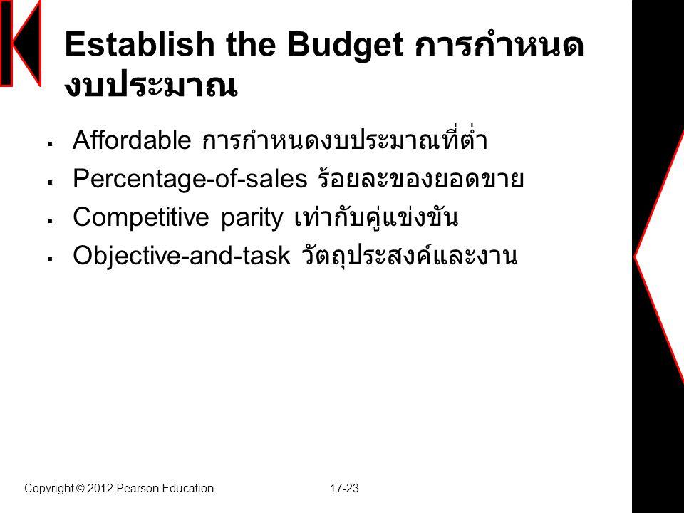 Establish the Budget การกำหนดงบประมาณ