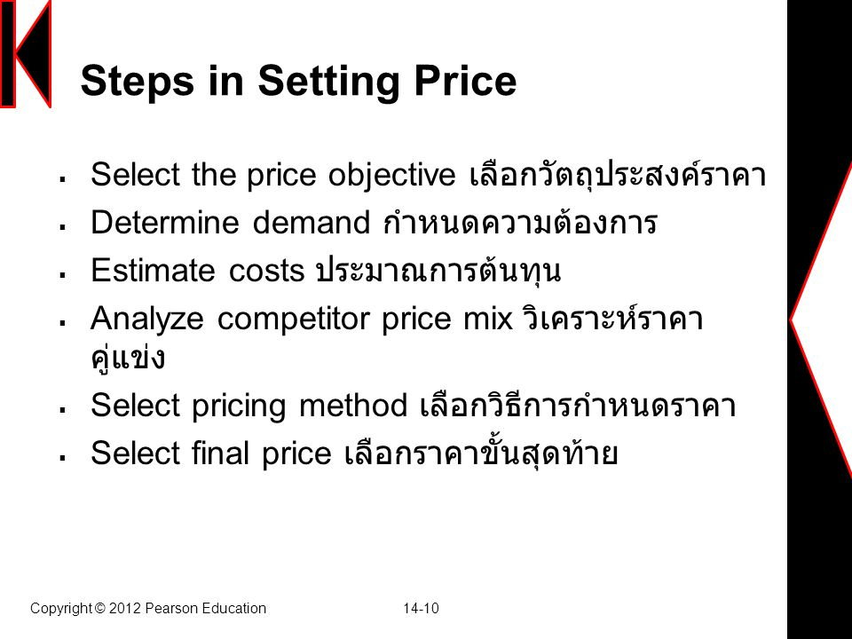 Steps in Setting Price Select the price objective เลือกวัตถุประสงค์ราคา. Determine demand กำหนดความต้องการ.