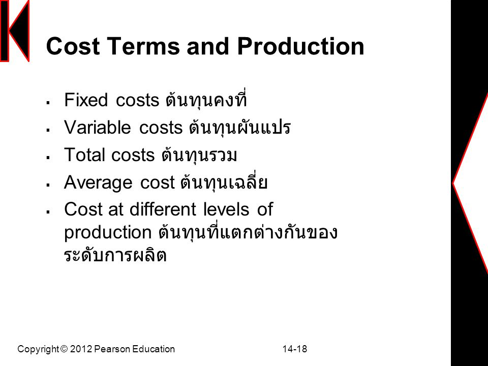 Cost Terms and Production