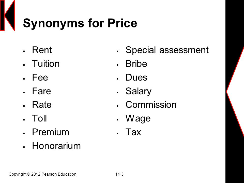 Synonyms for Price Rent Tuition Fee Fare Rate Toll Premium Honorarium