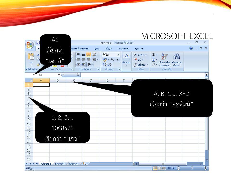 Microsoft Excel A1 เรียกว่า เซลล์ A, B, C,… XFD เรียกว่า คอลัมน์