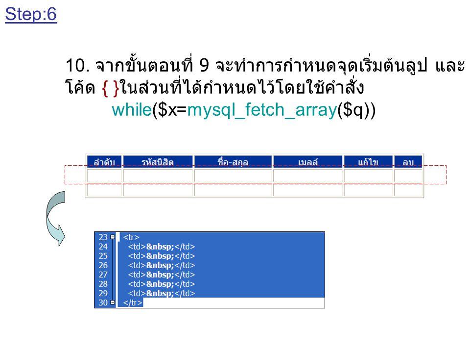 Step:6 10. จากขั้นตอนที่ 9 จะทำการกำหนดจุดเริ่มต้นลูป และ จุดสิ้นสุดลูป โดยการ. โค้ด { }ในส่วนที่ได้กำหนดไว้โดยใช้คำสั่ง.