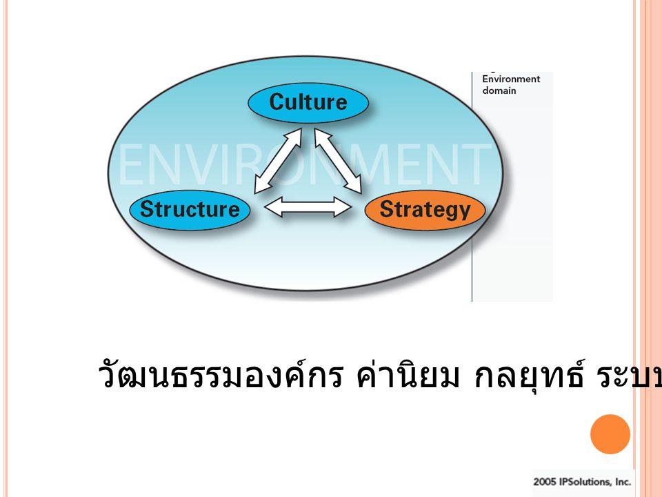 วัฒนธรรมองค์กร ค่านิยม กลยุทธ์ ระบบงาน