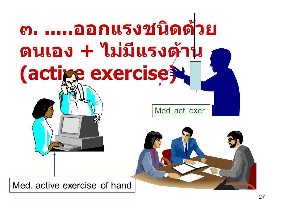 ๓. .....ออกแรงชนิดด้วยตนเอง + ไม่มีแรงต้าน(active exercise)