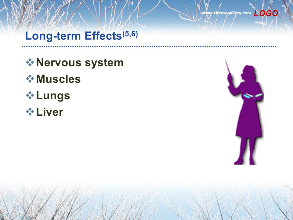Long-term Effects(5,6) Nervous system Muscles Lungs Liver LOGO