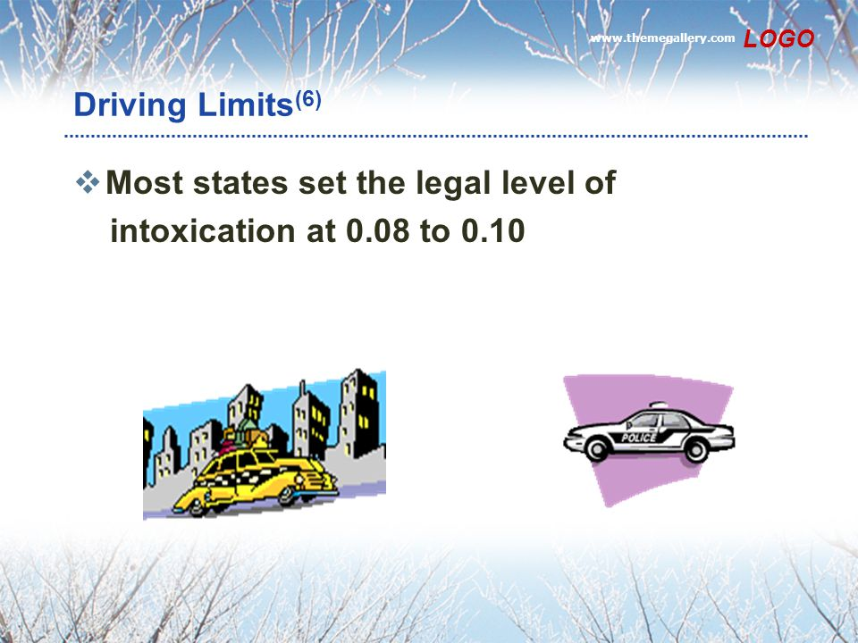 Most states set the legal level of intoxication at 0.08 to 0.10