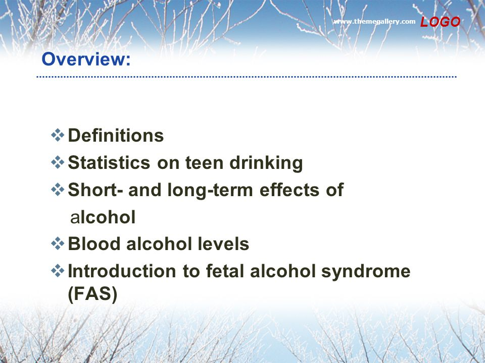 Statistics on teen drinking Short- and long-term effects of alcohol