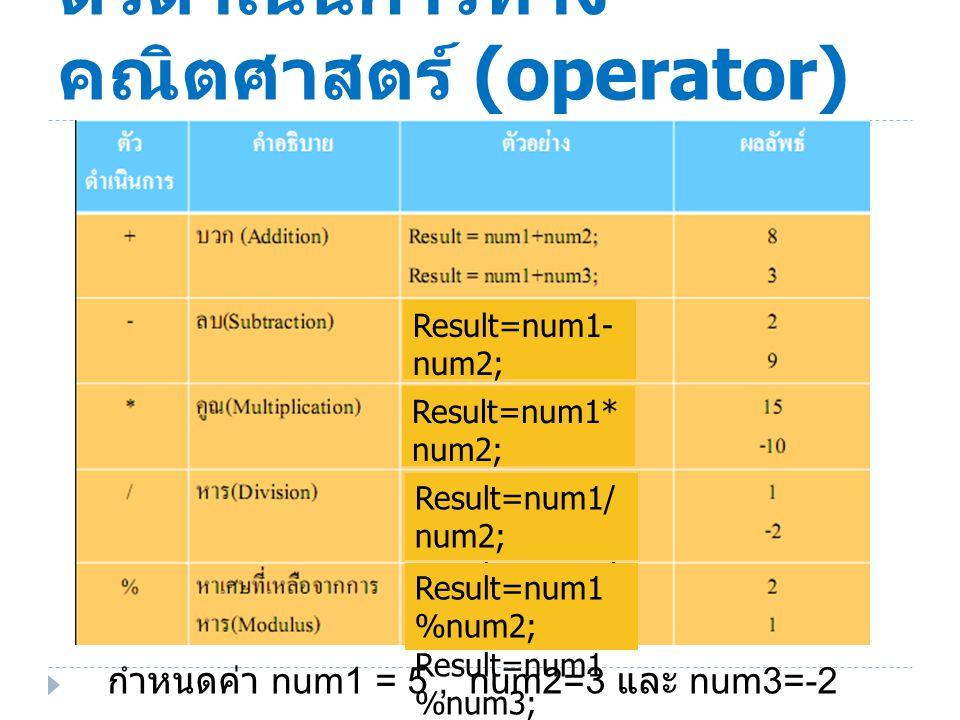ตัวดำเนินการทางคณิตศาสตร์ (operator)