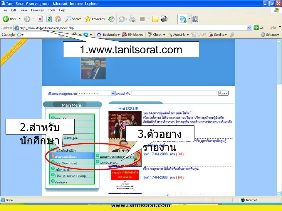 1.www.tanitsorat.com 2.สำหรับนักศึกษา 3.ตัวอย่างรายงาน