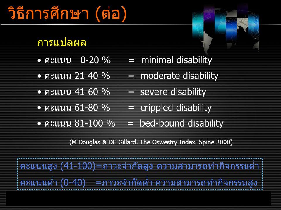 วิธีการศึกษา (ต่อ) การแปลผล คะแนน 0-20 % = minimal disability