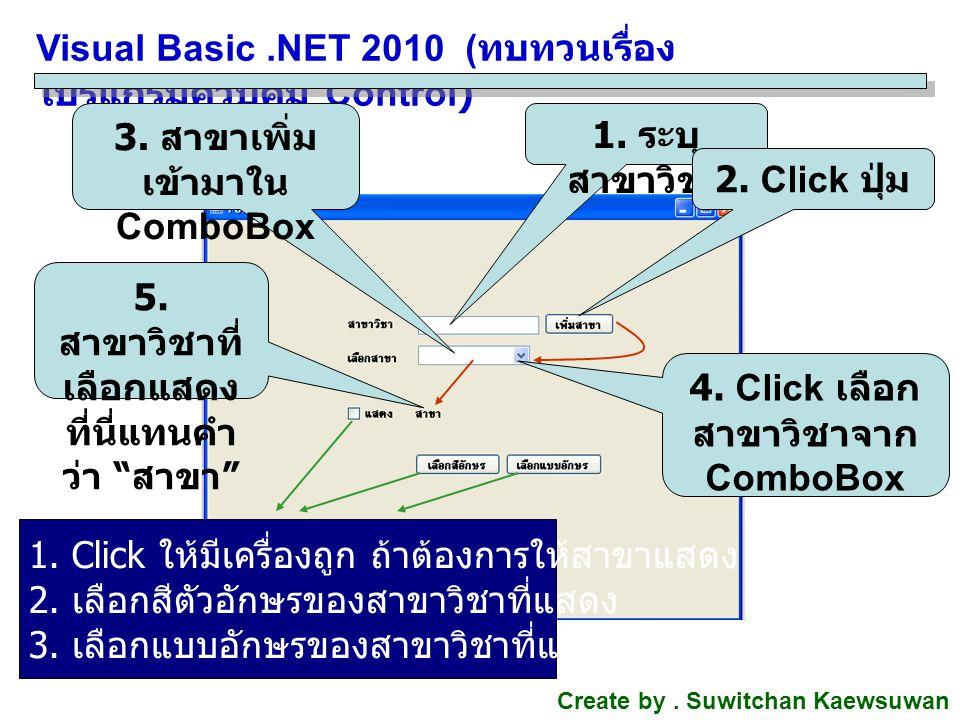Visual Basic .NET 2010 (ทบทวนเรื่อง โปรแกรมควบคุม Control)