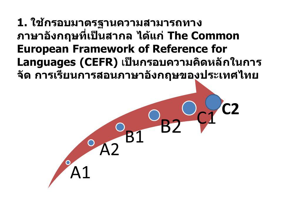 1. ใช้กรอบมาตรฐานความสามารถทางภาษาอังกฤษที่เป็นสากล ได้แก่ The Common European Framework of Reference for Languages (CEFR) เป็นกรอบความคิดหลักในการจัด การเรียนการสอนภาษาอังกฤษของประเทศไทย