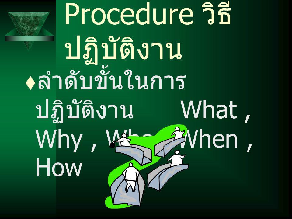 Procedure วิธีปฏิบัติงาน