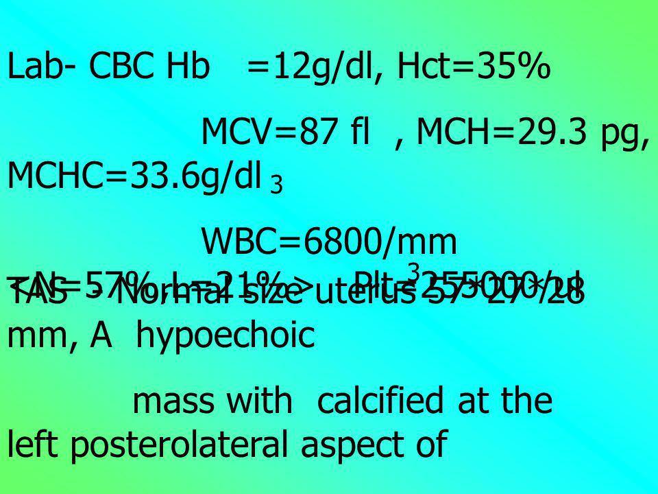 MCV=87 fl , MCH=29.3 pg, MCHC=33.6g/dl