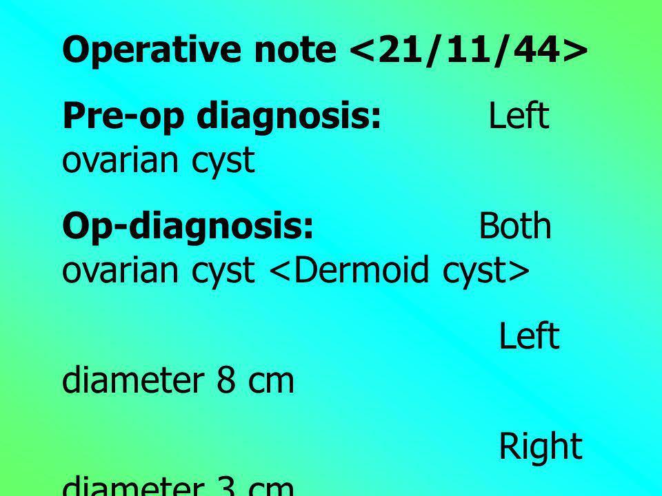 Operative note <21/11/44>