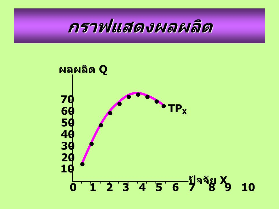 กราฟแสดงผลผลิต • ผลผลิต Q 70 TPX 60 50 40 30 20 10 ปัจจัย X