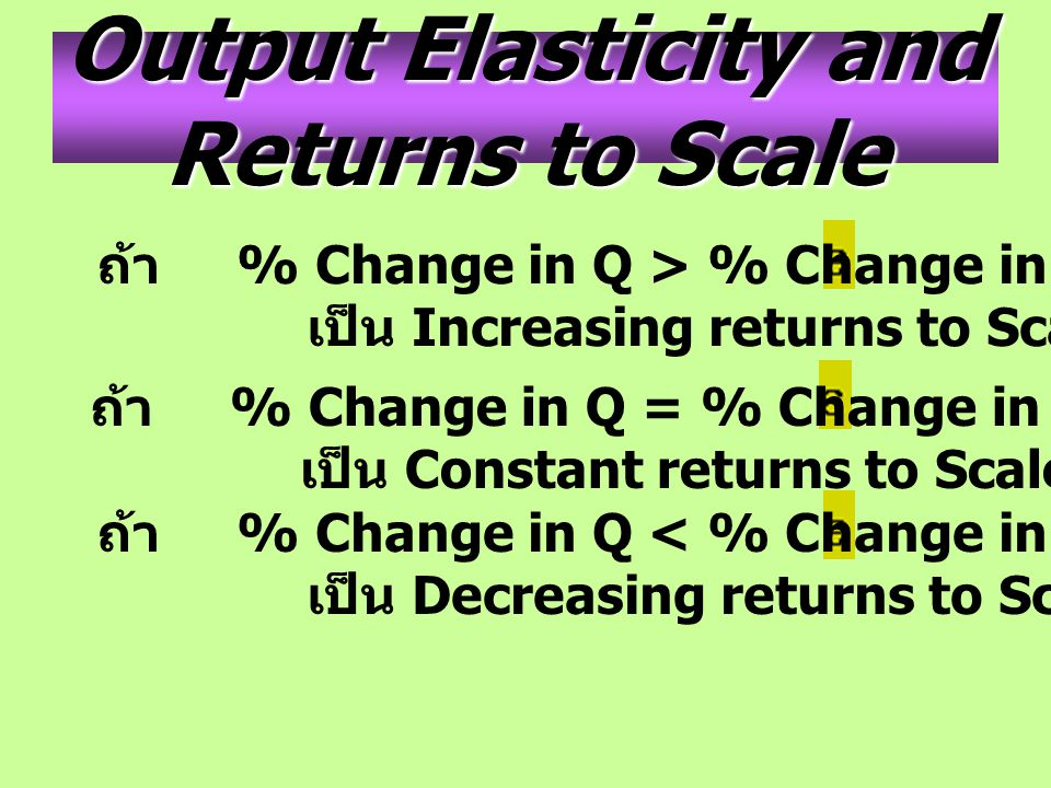 Output Elasticity and Returns to Scale