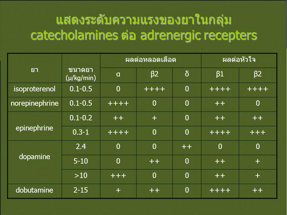 แสดงระดับความแรงของยาในกลุ่ม catecholamines ต่อ adrenergic recepters