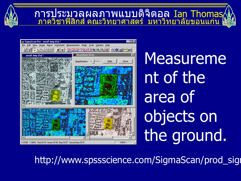 Measurement of the area of objects on the ground.