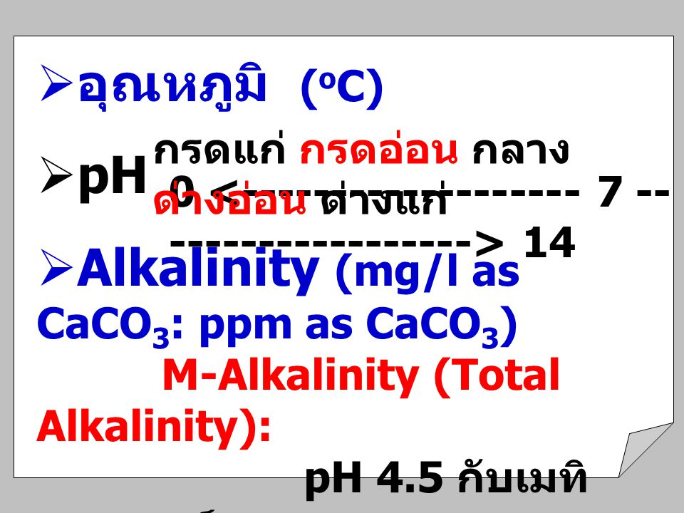 Alkalinity (mg/l as CaCO3: ppm as CaCO3)