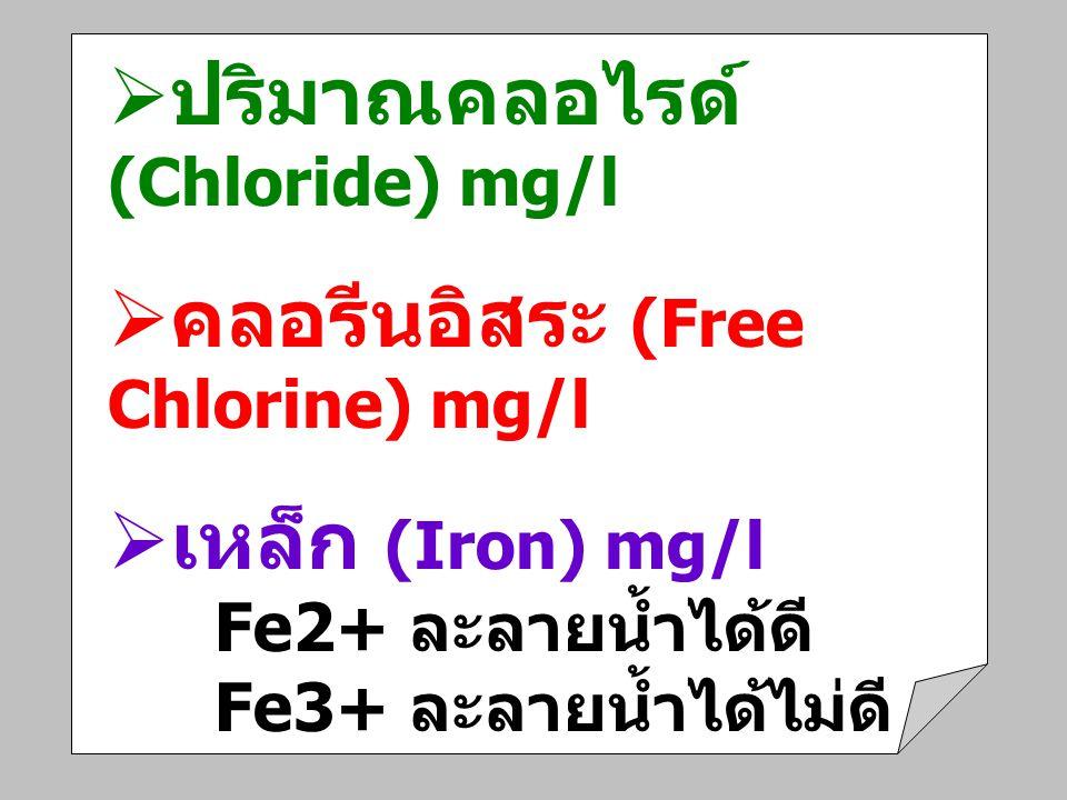 ปริมาณคลอไรด์ (Chloride) mg/l คลอรีนอิสระ (Free Chlorine) mg/l