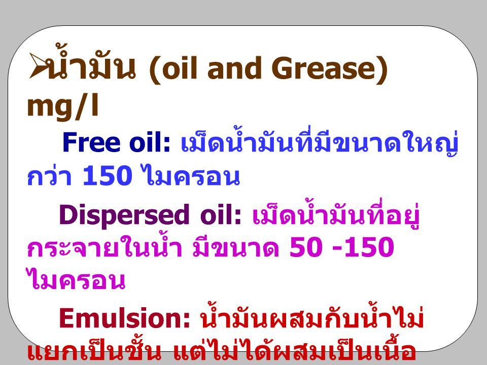 น้ำมัน (oil and Grease) mg/l