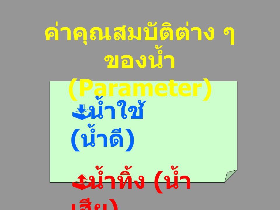 ค่าคุณสมบัติต่าง ๆ ของน้ำ(Parameter)