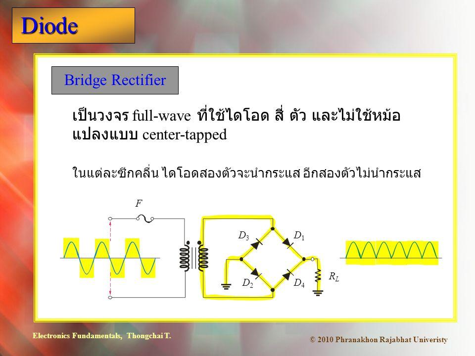 Bridge Rectifier เป็นวงจร full-wave ที่ใช้ไดโอด สี่ ตัว และไม่ใช้หม้อแปลงแบบ center-tapped. ในแต่ละซีกคลื่น ไดโอดสองตัวจะนำกระแส อีกสองตัวไม่นำกระแส.