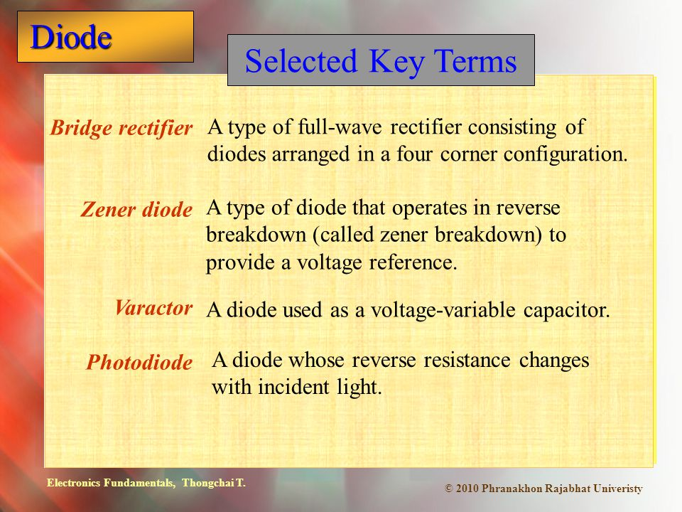 Selected Key Terms Bridge rectifier